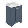 Bayswater Stiffkey Blue 600mm 2 Door Vanity Unit & 3TH White Marble Basin Top profile small image view 1