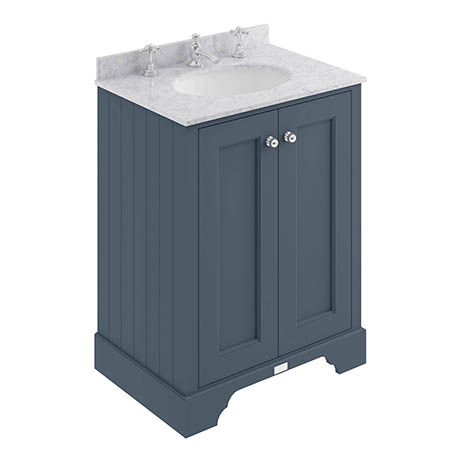 Bayswater Stiffkey Blue 600mm 2 Door Vanity Unit & 3TH Grey Marble Basin Top