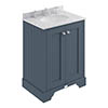 Bayswater Stiffkey Blue 600mm 2 Door Vanity Unit & 3TH Grey Marble Basin Top profile small image view 1