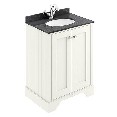 Bayswater Pointing White 600mm 2 Door Vanity Unit & 1TH Black Marble Basin Top