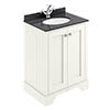 Bayswater Pointing White 600mm 2 Door Vanity Unit & 1TH Black Marble Basin Top profile small image view 1