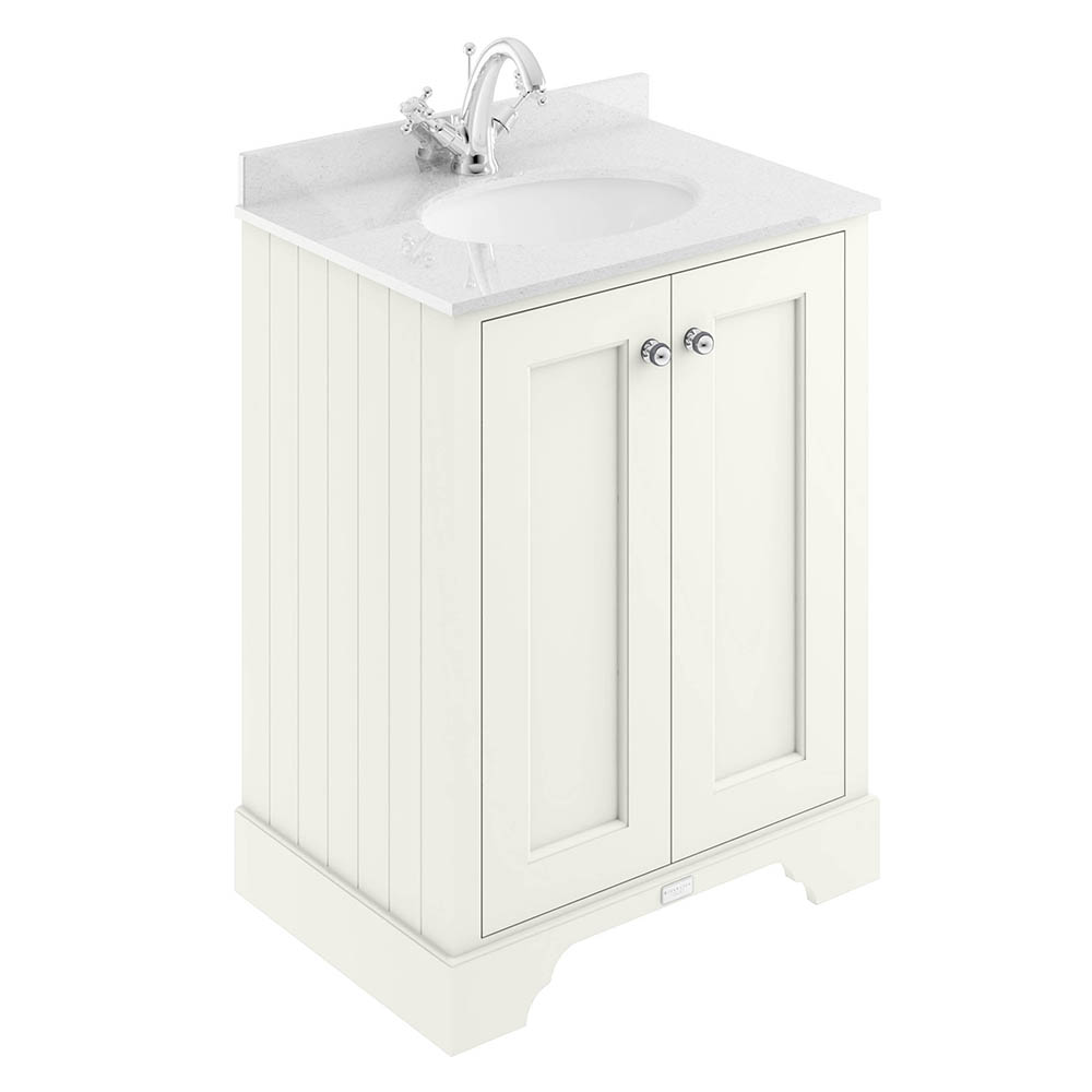 Bayswater Pointing White 600mm 2 Door Vanity Unit & 1TH White Marble Basin Top