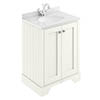 Bayswater Pointing White 600mm 2 Door Vanity Unit & 1TH White Marble Basin Top profile small image view 1