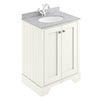 Bayswater Pointing White 600mm 2 Door Vanity Unit & 1TH Grey Marble Basin Top profile small image view 1