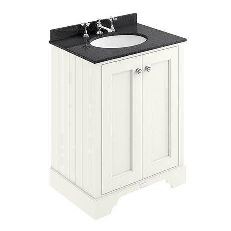 Bayswater Pointing White 600mm 2 Door Vanity Unit & 3TH Black Marble Basin Top