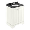 Bayswater Pointing White 600mm 2 Door Vanity Unit & 3TH Black Marble Basin Top profile small image view 1