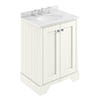 Bayswater Pointing White 600mm 2 Door Vanity Unit & 3TH White Marble Basin Top profile small image view 1