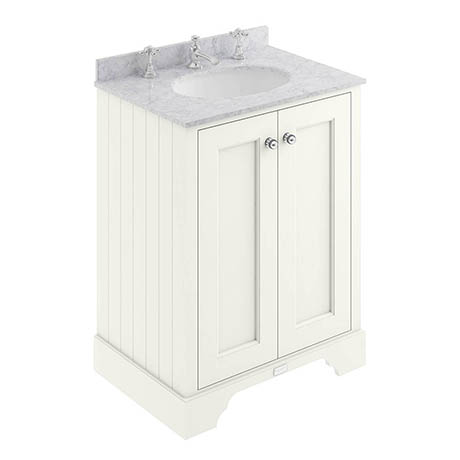 Bayswater Pointing White 600mm 2 Door Vanity Unit & 3TH Grey Marble Basin Top
