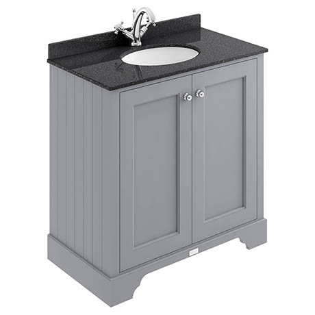 Bayswater Plummett Grey 800mm 2 Door Vanity Unit & 1TH Black Marble Basin Top