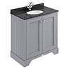 Bayswater Plummett Grey 800mm 2 Door Vanity Unit & 1TH Black Marble Basin Top profile small image view 1