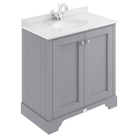 Bayswater Plummett Grey 800mm 2 Door Vanity Unit & 1TH White Marble Basin Top