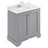Bayswater Plummett Grey 800mm 2 Door Vanity Unit & 1TH White Marble Basin Top profile small image view 1