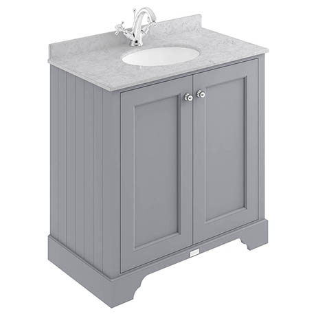 Bayswater Plummett Grey 800mm 2 Door Vanity Unit & 1TH Grey Marble Basin Top