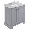 Bayswater Plummett Grey 800mm 2 Door Vanity Unit & 1TH Grey Marble Basin Top profile small image view 1