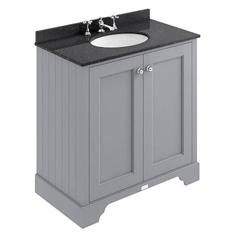 Bayswater Plummett Grey 800mm 2 Door Vanity Unit & 3TH Black Marble Basin Top