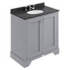 Bayswater Plummett Grey 800mm 2 Door Vanity Unit & 3TH Black Marble Basin Top profile small image view 1