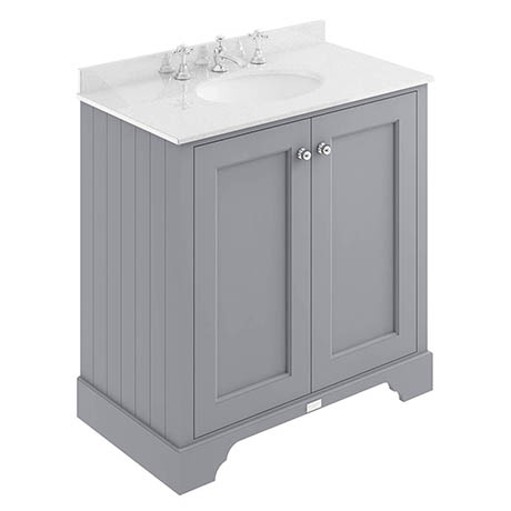Bayswater Plummett Grey 800mm 2 Door Vanity Unit & 3TH White Marble Basin Top