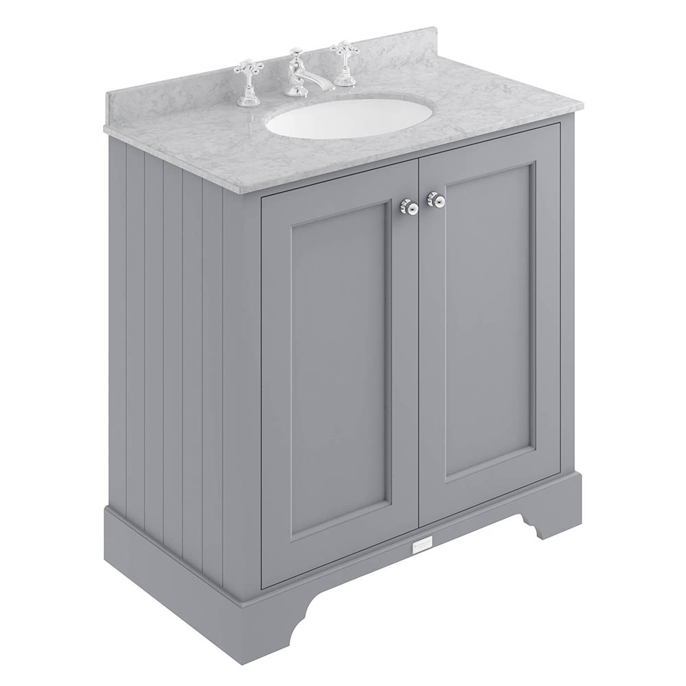 Bayswater Plummett Grey 800mm 2 Door Vanity Unit & 3TH Grey Marble Basin Top