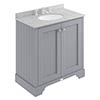 Bayswater Plummett Grey 800mm 2 Door Vanity Unit & 3TH Grey Marble Basin Top profile small image view 1