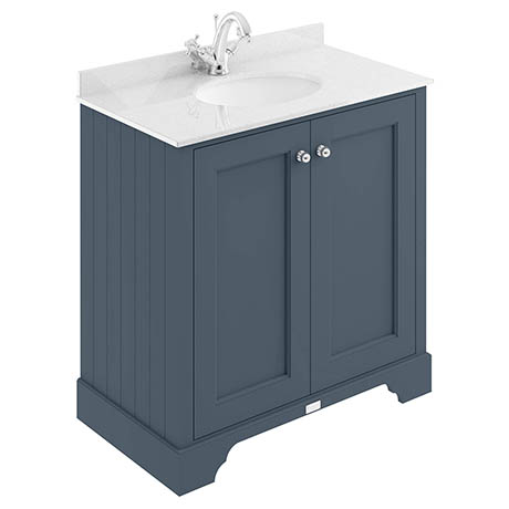 Bayswater Stiffkey Blue 800mm 2 Door Vanity Unit & 1TH White Marble Basin Top