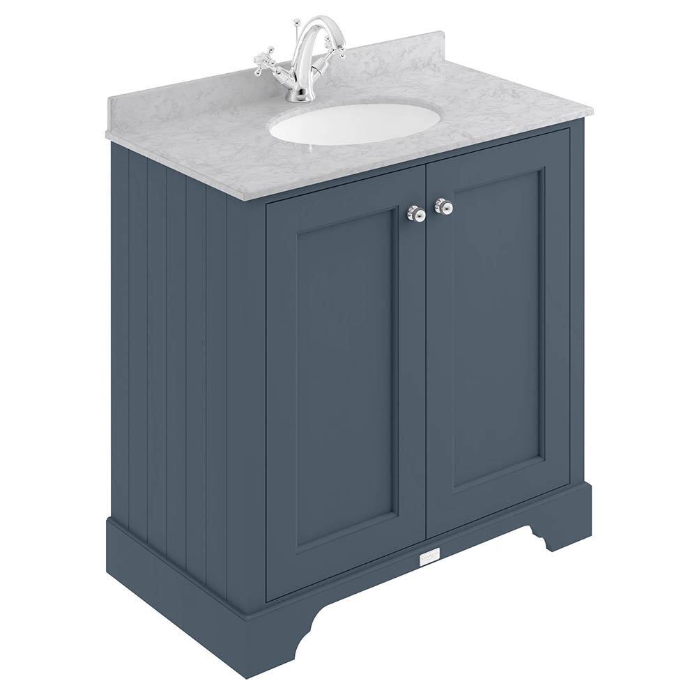 Bayswater Stiffkey Blue 800mm 2 Door Vanity Unit & 1TH Grey Marble Basin Top