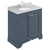 Bayswater Stiffkey Blue 800mm 2 Door Vanity Unit & 1TH Grey Marble Basin Top profile small image view 1