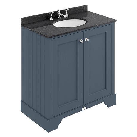 Bayswater Stiffkey Blue 800mm 2 Door Vanity Unit & 3TH Black Marble Basin Top