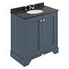 Bayswater Stiffkey Blue 800mm 2 Door Vanity Unit & 3TH Black Marble Basin Top profile small image view 1