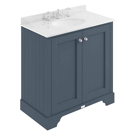 Bayswater Stiffkey Blue 800mm 2 Door Vanity Unit & 3TH White Marble Basin Top