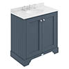 Bayswater Stiffkey Blue 800mm 2 Door Vanity Unit & 3TH White Marble Basin Top profile small image view 1