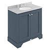 Bayswater Stiffkey Blue 800mm 2 Door Vanity Unit & 3TH Grey Marble Basin Top profile small image view 1