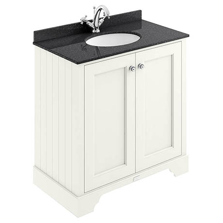 Bayswater Pointing White 800mm 2 Door Vanity Unit & 1TH Black Marble Basin Top