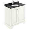 Bayswater Pointing White 800mm 2 Door Vanity Unit & 1TH Black Marble Basin Top profile small image view 1