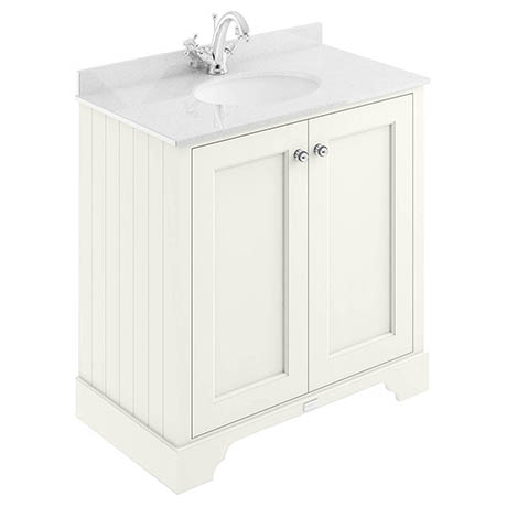 Bayswater Pointing White 800mm 2 Door Vanity Unit & 1TH White Marble Basin Top