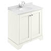 Bayswater Pointing White 800mm 2 Door Vanity Unit & 1TH White Marble Basin Top profile small image view 1