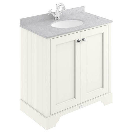 Bayswater Pointing White 800mm 2 Door Vanity Unit & 1TH Grey Marble Basin Top