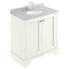 Bayswater Pointing White 800mm 2 Door Vanity Unit & 1TH Grey Marble Basin Top profile small image view 1