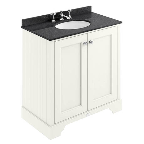 Bayswater Pointing White 800mm 2 Door Vanity Unit & 3TH Black Marble Basin Top