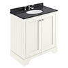 Bayswater Pointing White 800mm 2 Door Vanity Unit & 3TH Black Marble Basin Top profile small image view 1