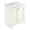 Bayswater Pointing White 800mm 2 Door Vanity Unit & 3TH White Marble Basin Top profile small image view 1