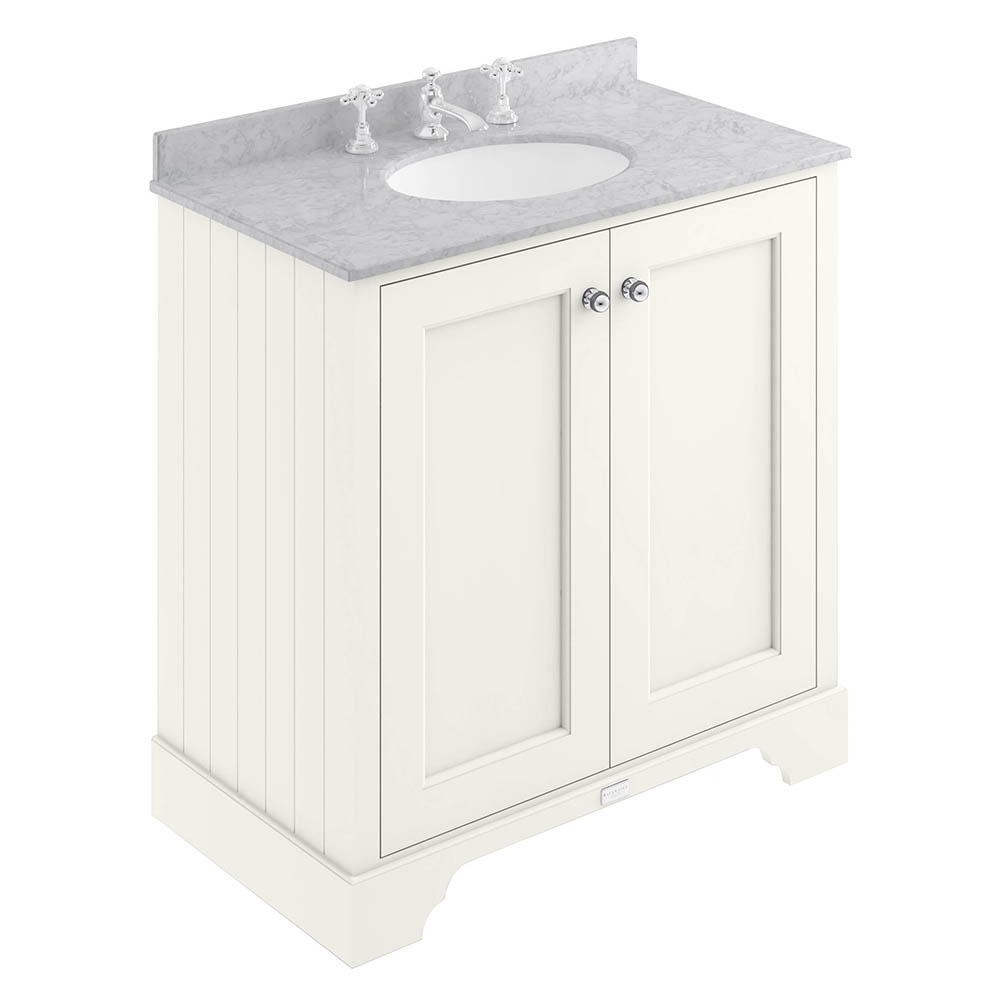 Bayswater Pointing White 800mm 2 Door Vanity Unit & 3TH Grey Marble Basin Top