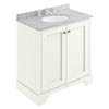 Bayswater Pointing White 800mm 2 Door Vanity Unit & 3TH Grey Marble Basin Top profile small image view 1
