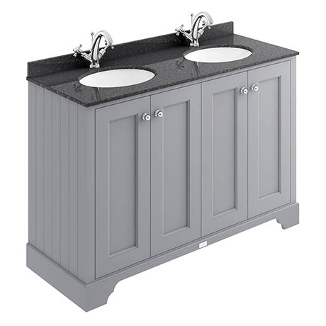 Bayswater Plummett Grey 1200mm 4 Door Vanity Unit & 1TH Black Marble Double Bowl Basin Top
