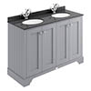 Bayswater Plummett Grey 1200mm 4 Door Vanity Unit & 1TH Black Marble Double Bowl Basin Top profile small image view 1