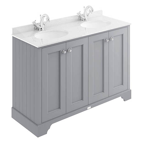 Bayswater Plummett Grey 1200mm 4 Door Vanity Unit & 1TH White Marble Double Bowl Basin Top