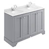 Bayswater Plummett Grey 1200mm 4 Door Vanity Unit & 1TH White Marble Double Bowl Basin Top profile small image view 1