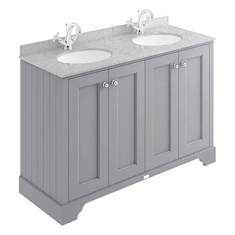 Bayswater Plummett Grey 1200mm 4 Door Vanity Unit & 1TH Grey Marble Double Bowl Basin Top