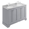 Bayswater Plummett Grey 1200mm 4 Door Vanity Unit & 1TH Grey Marble Double Bowl Basin Top profile small image view 1