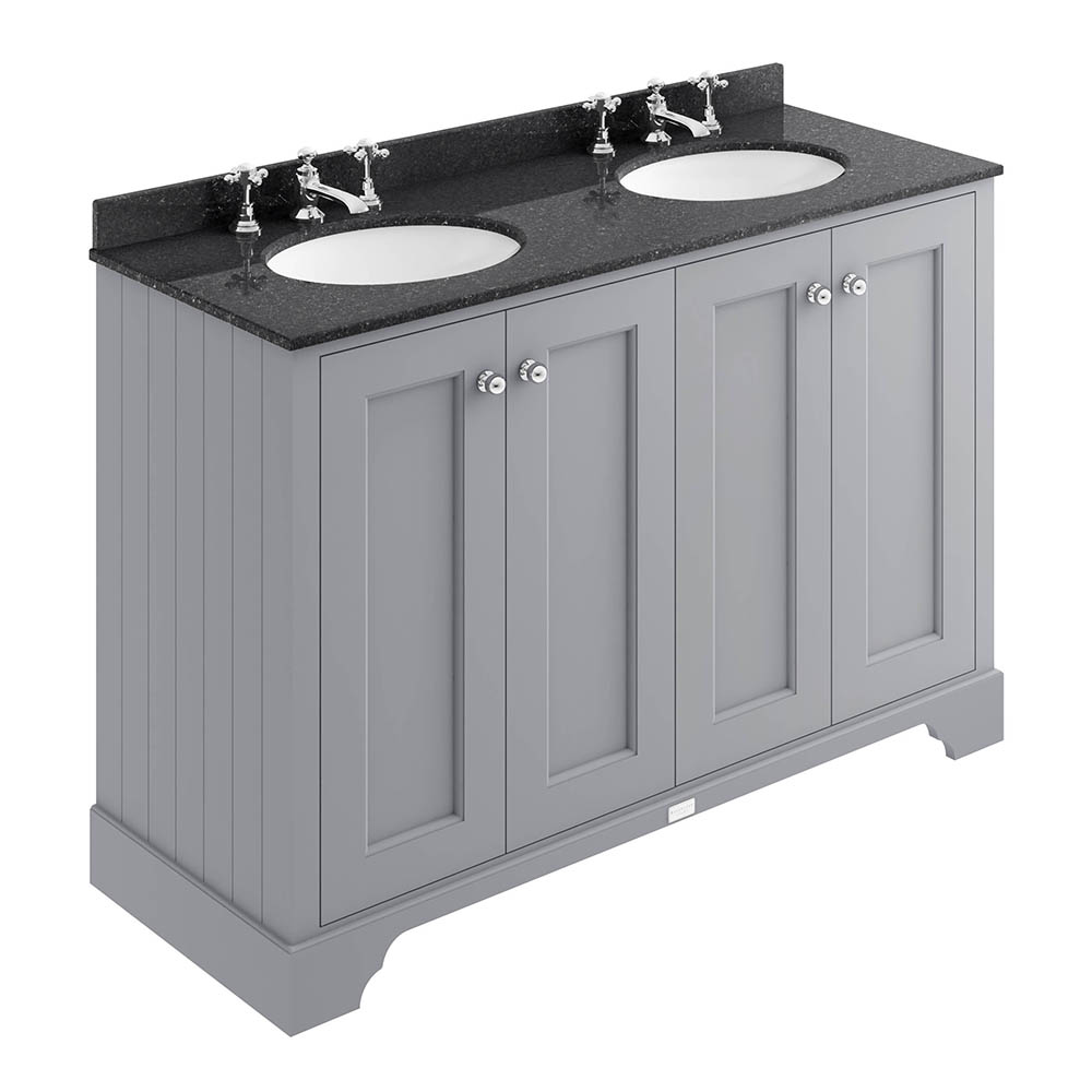Bayswater Plummett Grey 1200mm 4 Door Vanity Unit & 3TH Black Marble Double Bowl Basin Top
