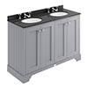 Bayswater Plummett Grey 1200mm 4 Door Vanity Unit & 3TH Black Marble Double Bowl Basin Top profile small image view 1